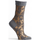 Womens Floral Damask Sock - Grey