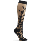 Floral Damask Knee High Sock - BLACK