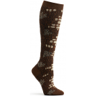 Womens Python Skin Knee High Sock - Brown