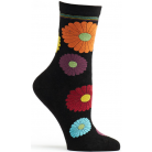 Womens Mini Flower Power Sock - Black